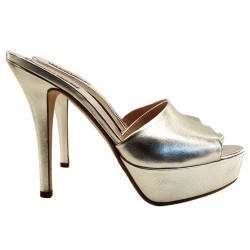 PLATINUM LEATHER CLOGS HEEL...