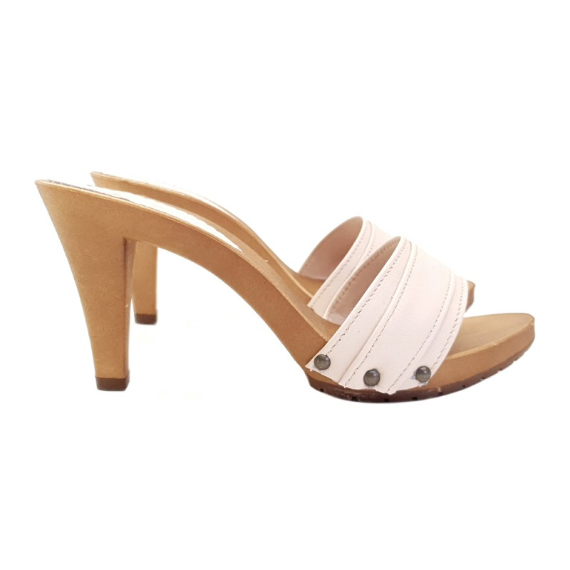 CLOGS WITH PINK POWDER LEATHER UPPER HEEL 9