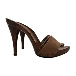 SEXY MULE IN BROWN SUEDE...