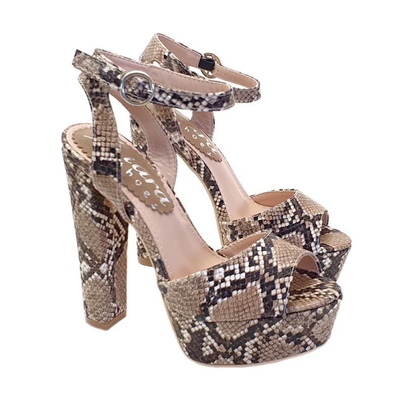 """Fetish Sandals Eco-leather """"Snake effect"""" Heel 15 CM - KC51001 PITONE BEIGE"""