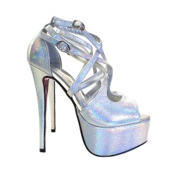 Multicolor stiletto heel sandals Height 14 cm - KC167 ARGENTO