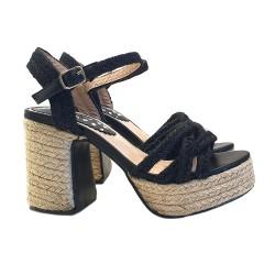 Zwarte touw fetish sandalen...