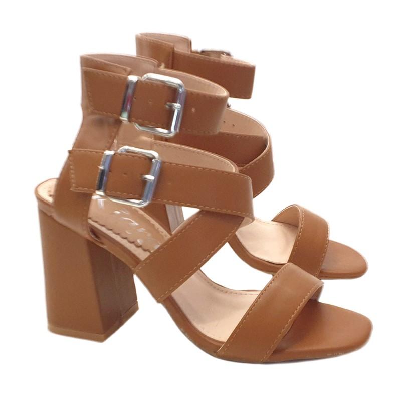 Sandale pour femme Avec double bride à la cheville - Très haute - KC3912 CAMEL