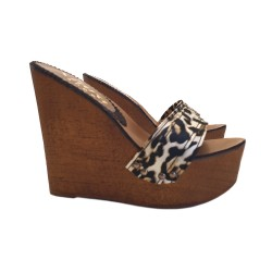 WOMEN'S WEDGE WITH LEOPARD UPPER AND 13 CM HEEL