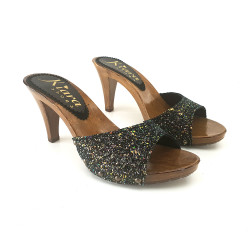 CLOGS BLACK WITH GLITTER...