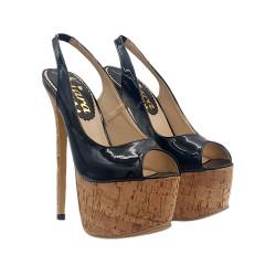 Sexy sandalen mit stiletto 17,5 cm - KH30 SUGHERO NERO