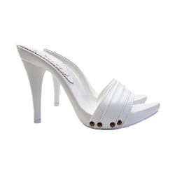 TOTAL WHITE LEATHER CLOGS...