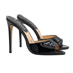 SEXY BLACK PATENT LEATHER CLOGS WITH HIGH HEEL