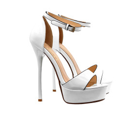 WHITE PATENT LEATHER SANDAL WITH HIGH HEEL