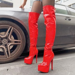 FETISH BOOT IN ROTER LACK -...