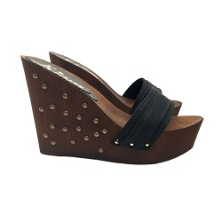 BLACK WEDGE CLOGS WITH STUDS