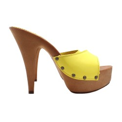 YELLOW LEATHER CLOGS HEEL 13